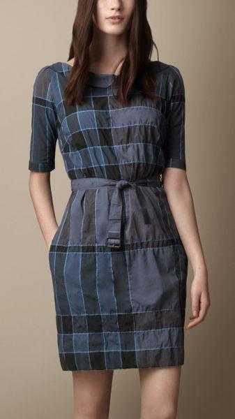 Burberry Brit Check Shirt Dress In Blue Petrol Blue Lyst