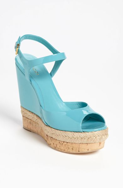 Gucci Hollie Wedge Sandal in Blue (end of color list turquoise)