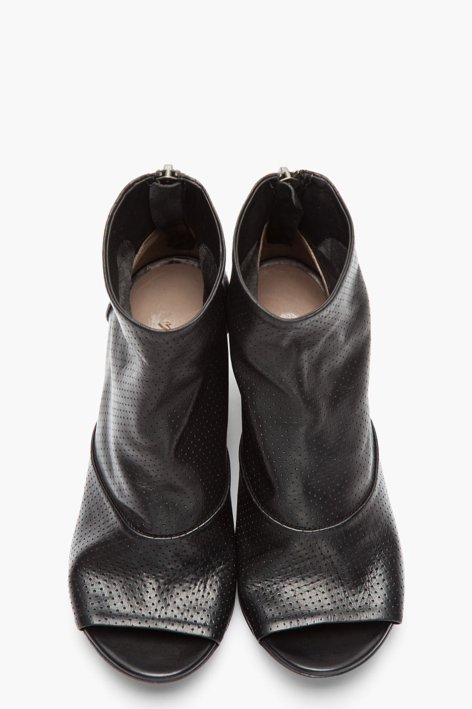 Lyst Mars 232 Ll Black Leather Open Toe Perforated Zip Ankle