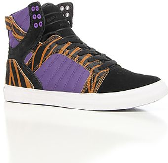 Supra The Skytop Sneaker in Tiger Print Pony Hair Black Suede Purple Nylon - Lyst