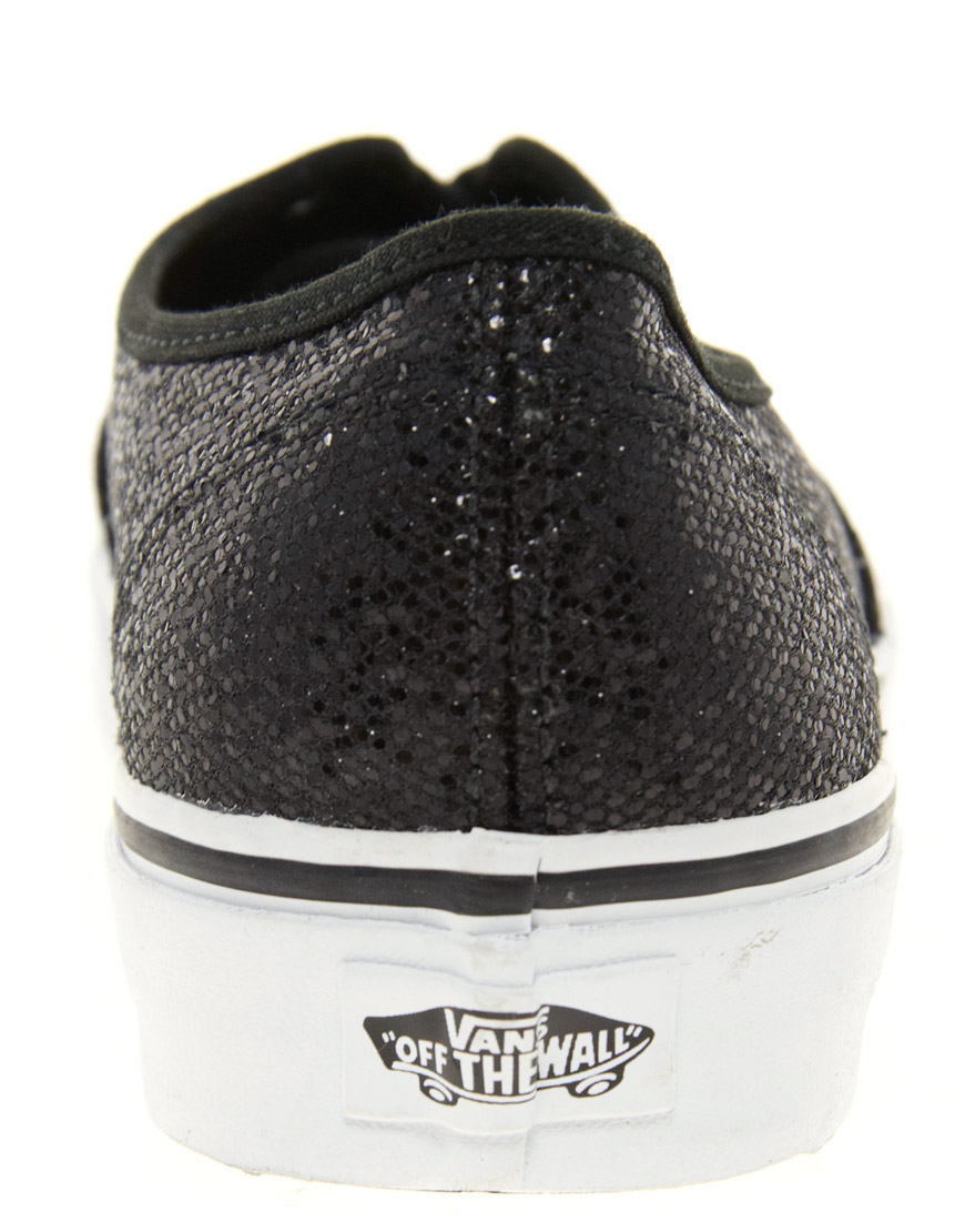 vans authentic glitter black
