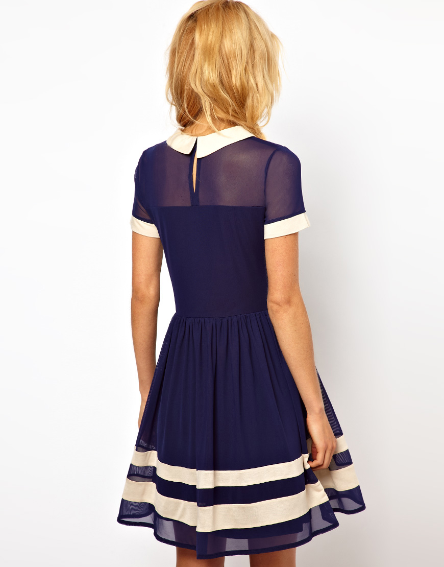 1ede899ab24 Lyst - ASOS Skater Dress in Mesh with Contrast Detail and Short ...