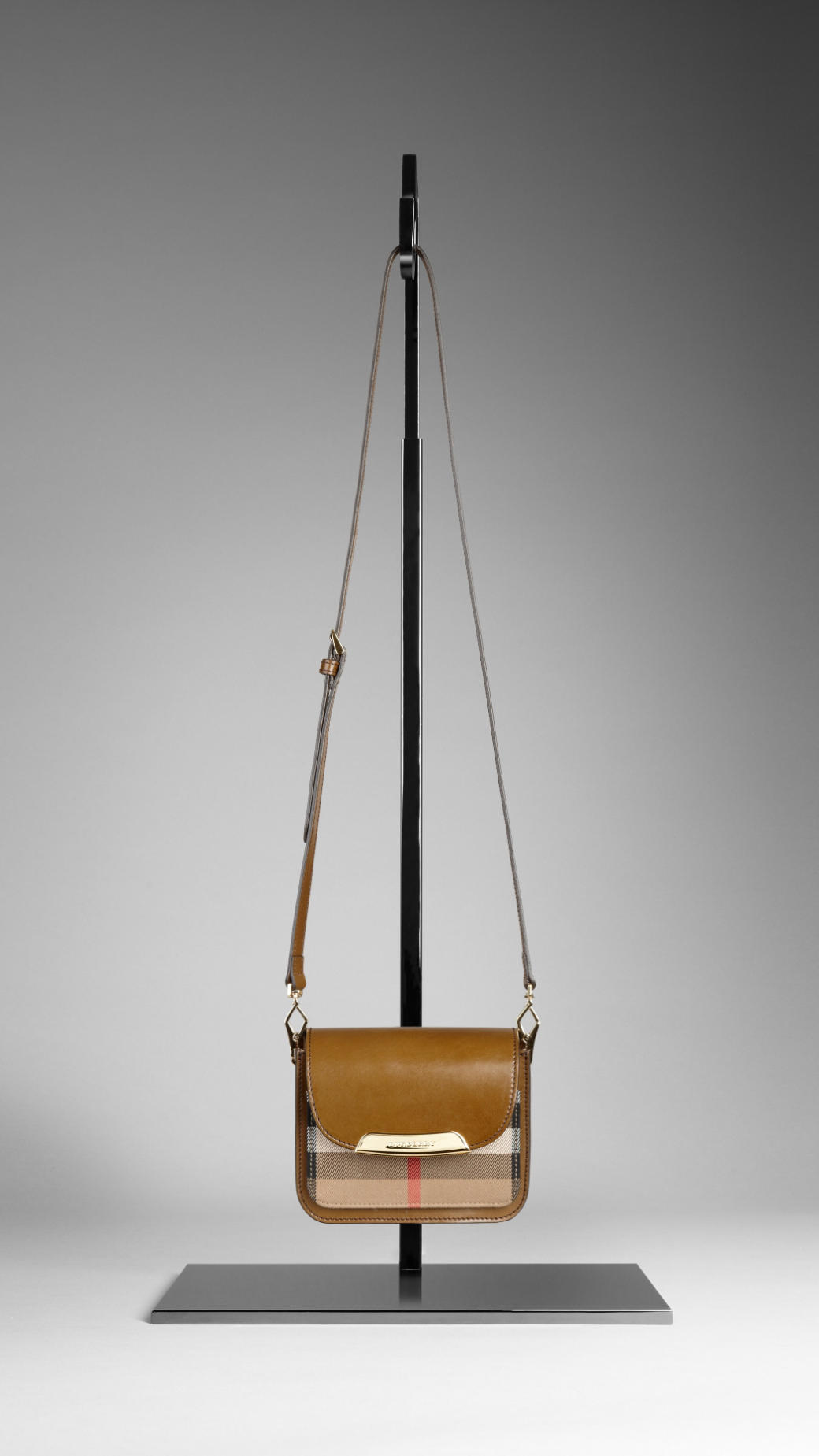 728b2e10f60a Lyst - Burberry Small Bridle House Check Crossbody Bag in Brown