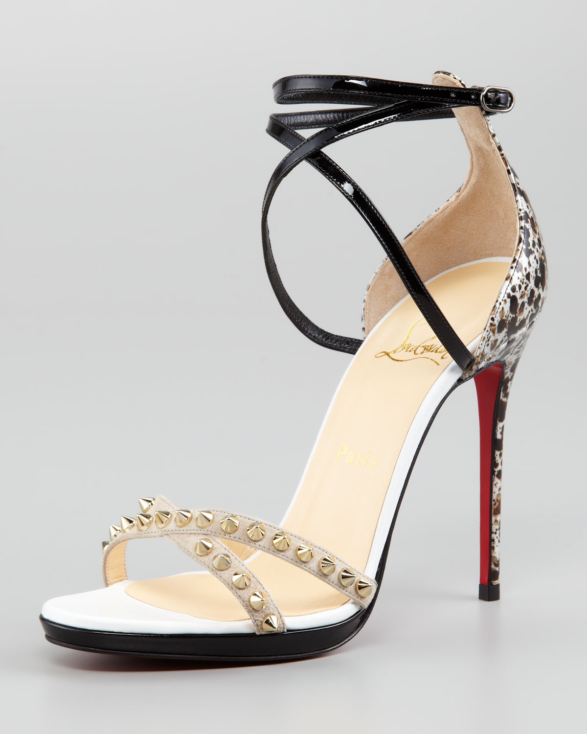 Lyst Christian Louboutin Monocronana Patent Leather And