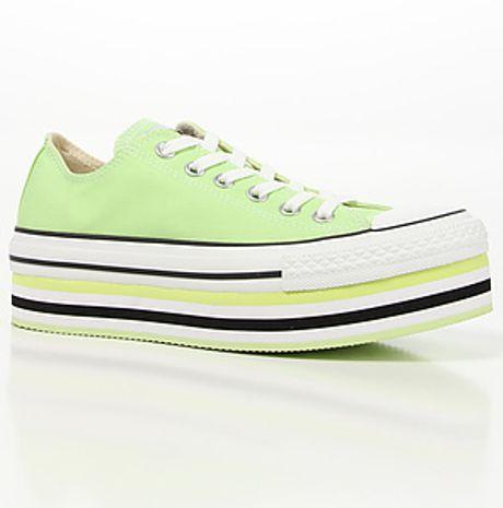 Converse The Layer Cake Platform Sneaker in Neon in Green #2: converse yellow the layer cake platform sneaker in neon yellow and white product 1 large flex