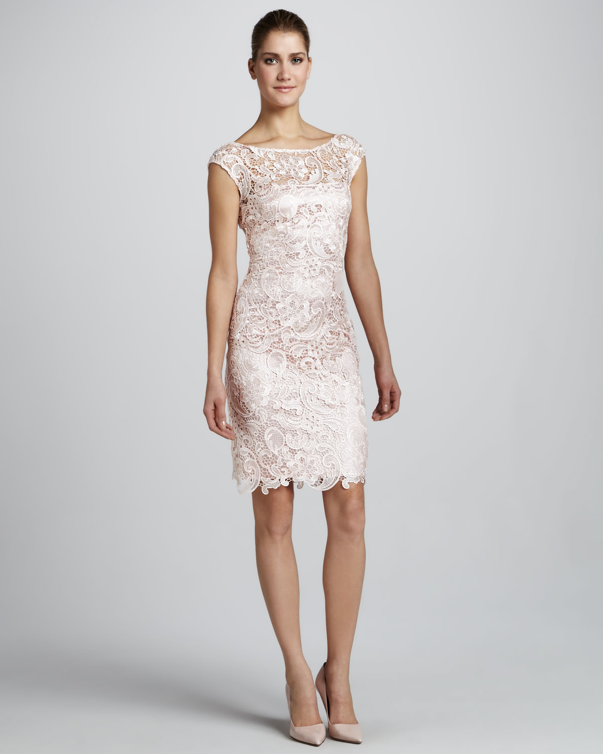 Ml monique lhuillier Capsleeve Lace Cocktail Dress in Natural | Lyst