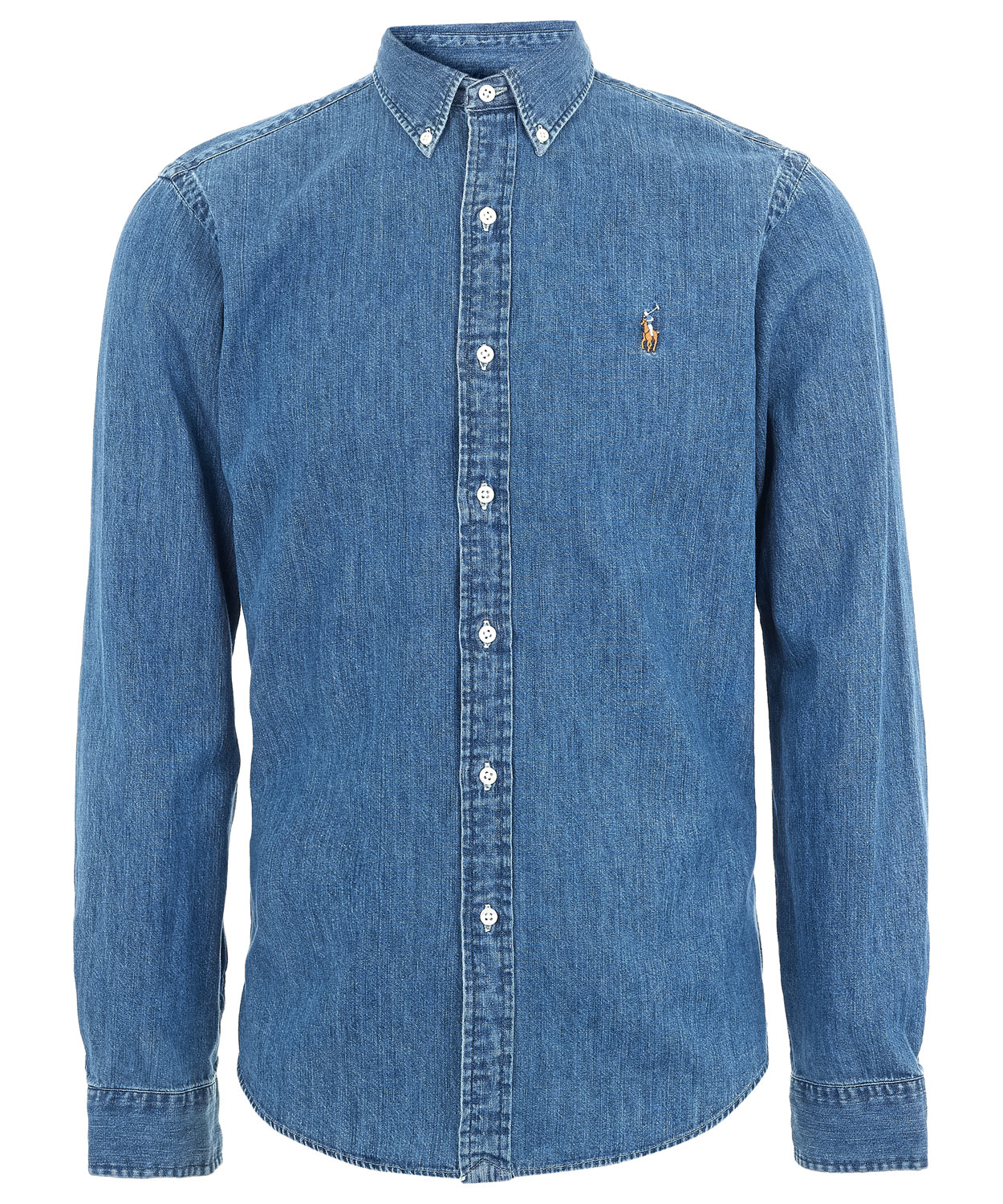 Lyst polo ralph lauren blue denim button down shirt in for Polo shirt and jeans