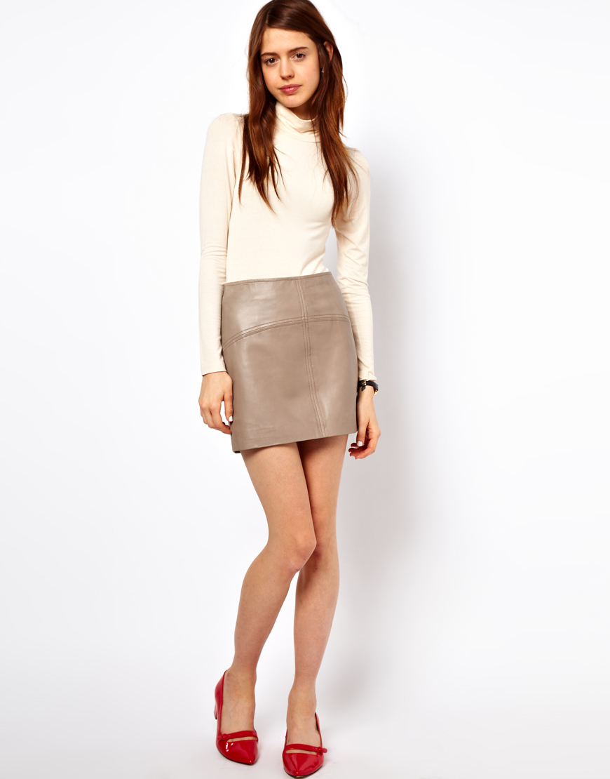 asos collection asos mini skirt in leather in gray grey