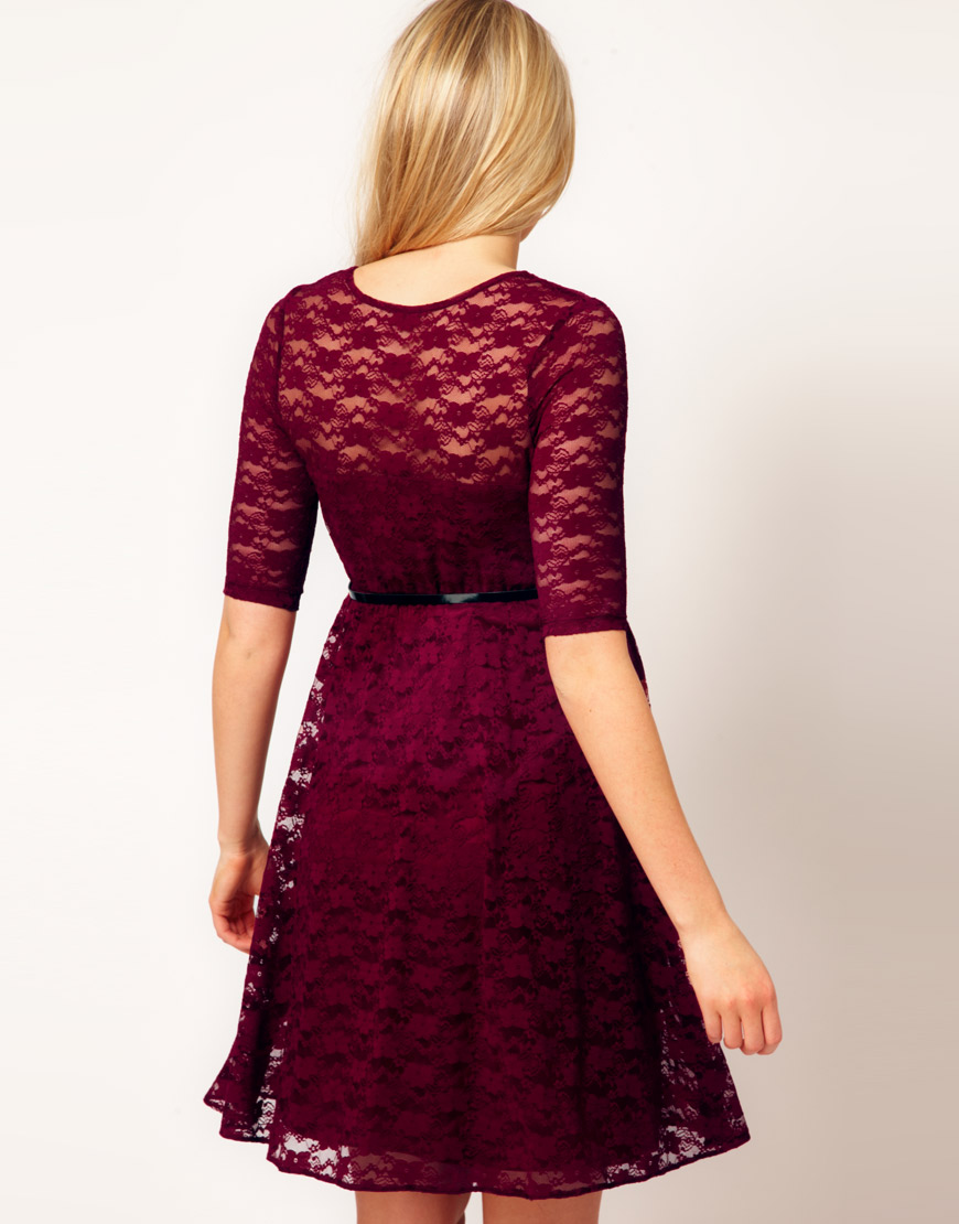 Asos Lace Skater Dress With Half Sleeve And Belt In Purple