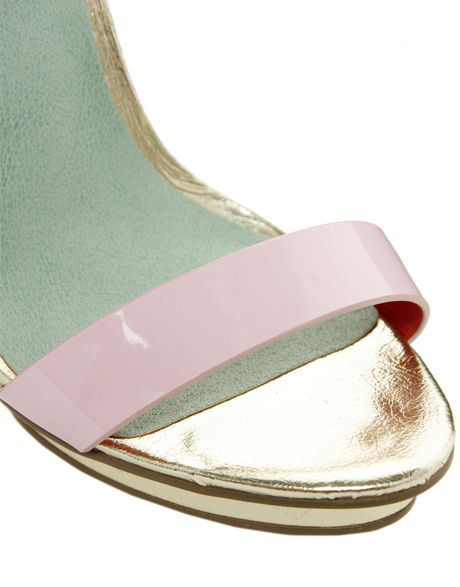 Asos Heeled Sandals In Pink Pastel Lyst