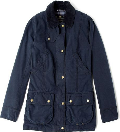 Barbour Navy Vintage Beadnell Waxed Jacket In Blue Navy