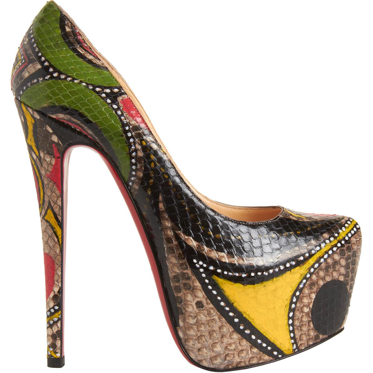 louboutin sneakers - christian louboutin Daffodile pumps Multicolor snakeskin ...