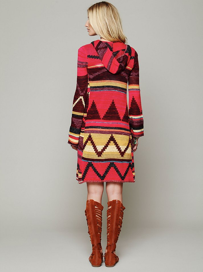 Free people Long Pattern Hooded Cardigan in Red | Lyst