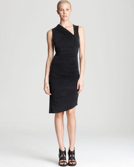 Asymmetric Drape Dress: Helmut Lang Helmut Drape Dress Asymmetric In Black