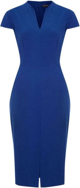 Pied A Terre Cap Sleeve Shift Dress in Blue (Cobalt)