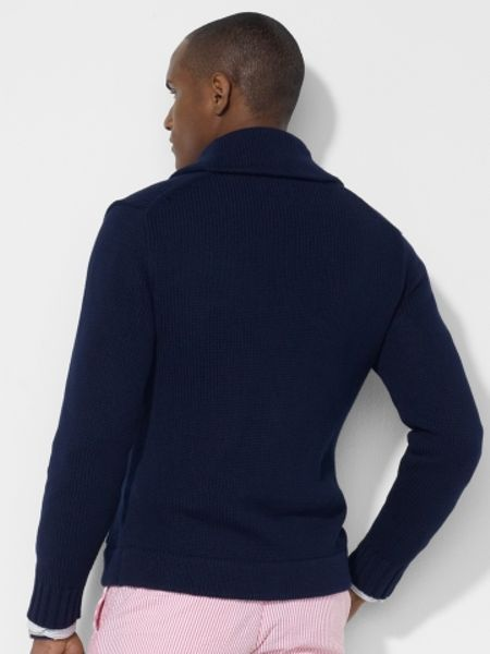 polo ralph lauren shawl collar cardigan in blue for men