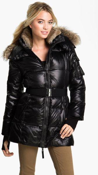 Sam Sam Down Coat With Genuine Coyote Rabbit Fur In Black