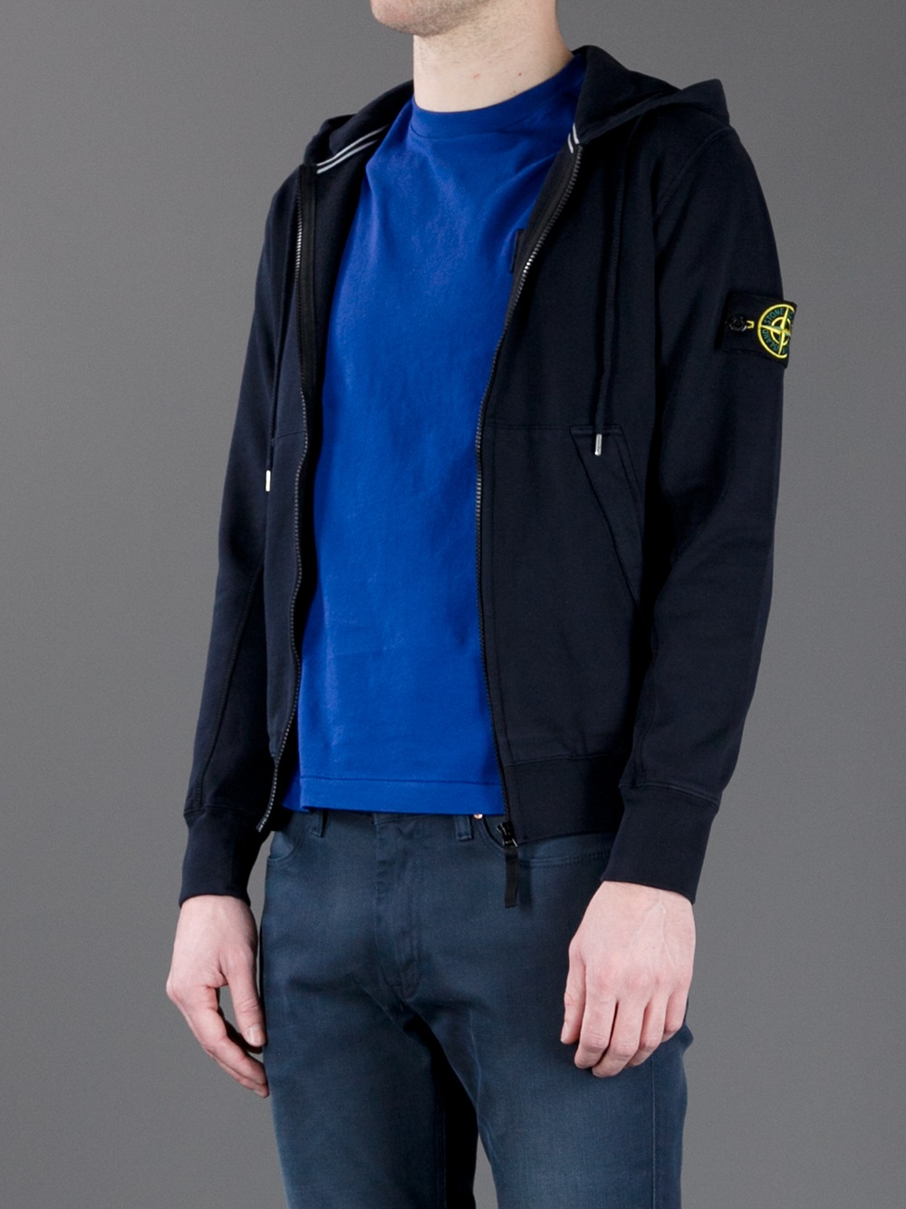 stone island dark navy full-zip sweatshirt -