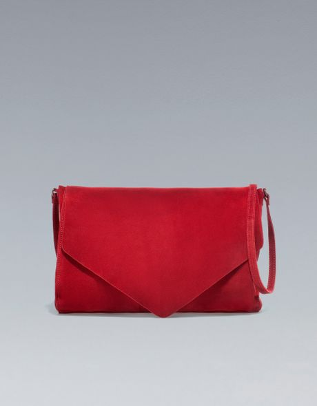 Zara Suede Messenger Bag in Red