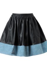 Blessed Leather and Denim Skirt