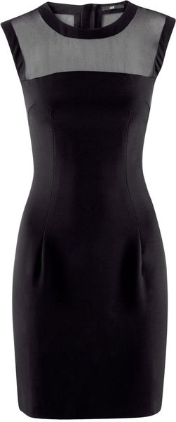 H&m Chiffon Yoke Dress in Black