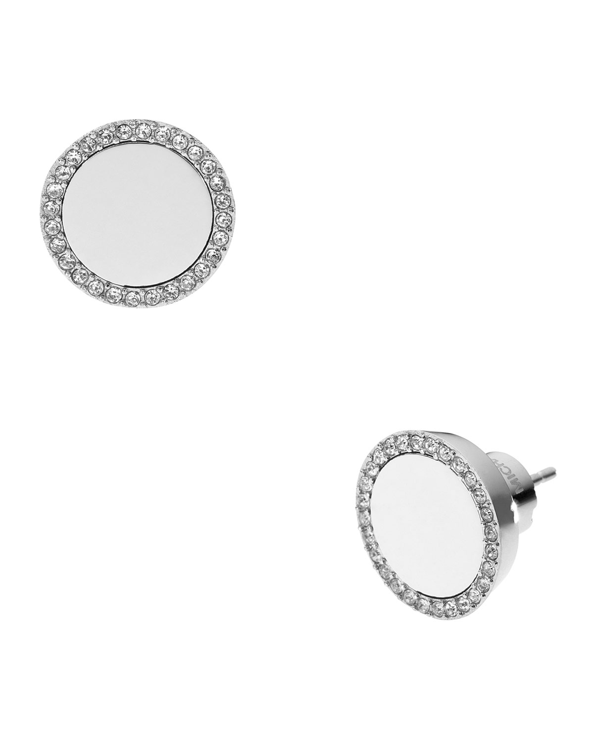 115a9a1e6 Michael Kors Silver Tone Logo Pave Stud Earrings - The Best Produck ...