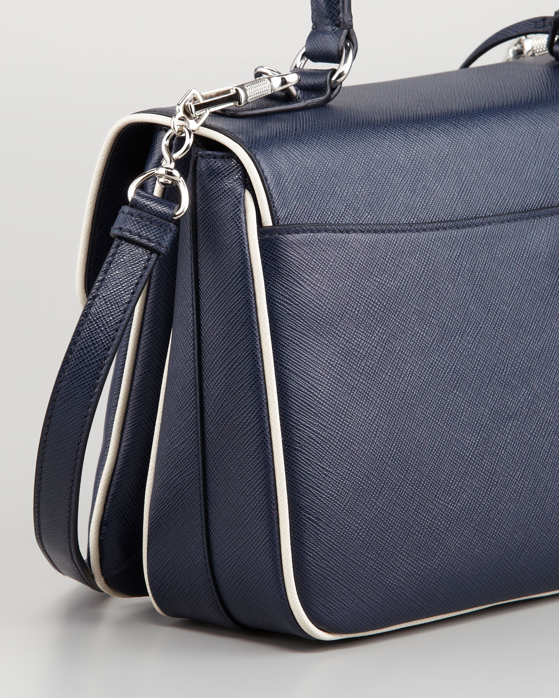 Prada Medium Flap Bag in Blue (navy/white) | Lyst