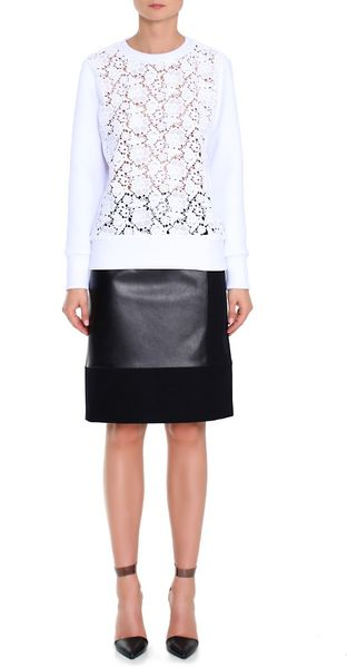 Tibi Sigrid Lace Sweatshirt in White - Lyst
