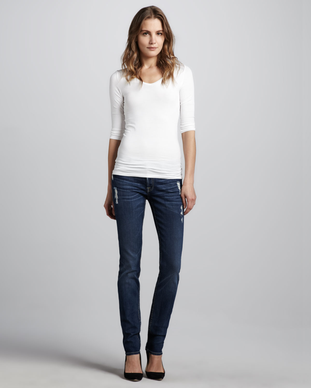 7 for all mankind roxanne skinny distressed jeans in blue. Black Bedroom Furniture Sets. Home Design Ideas