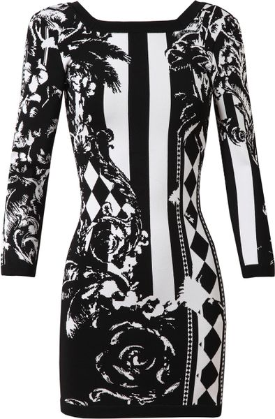 Balmain Baroque Floral Stretch Knit Dress In Black Black