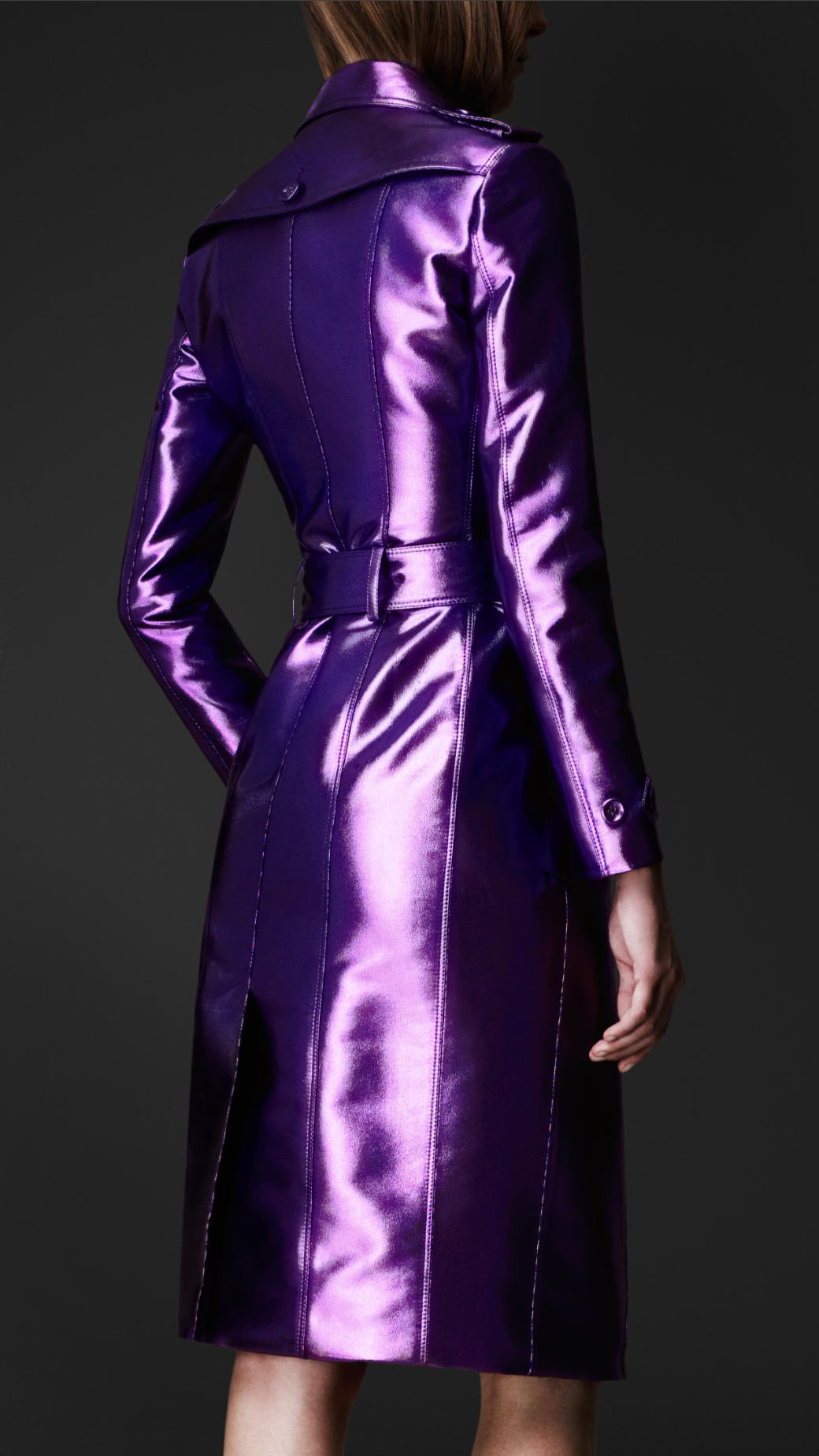 Lyst Burberry Prorsum Bright Metallic Trench Coat In Purple