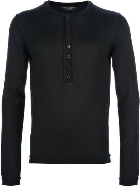 Dolce & Gabbana Serefina Henley Top in Black for Men