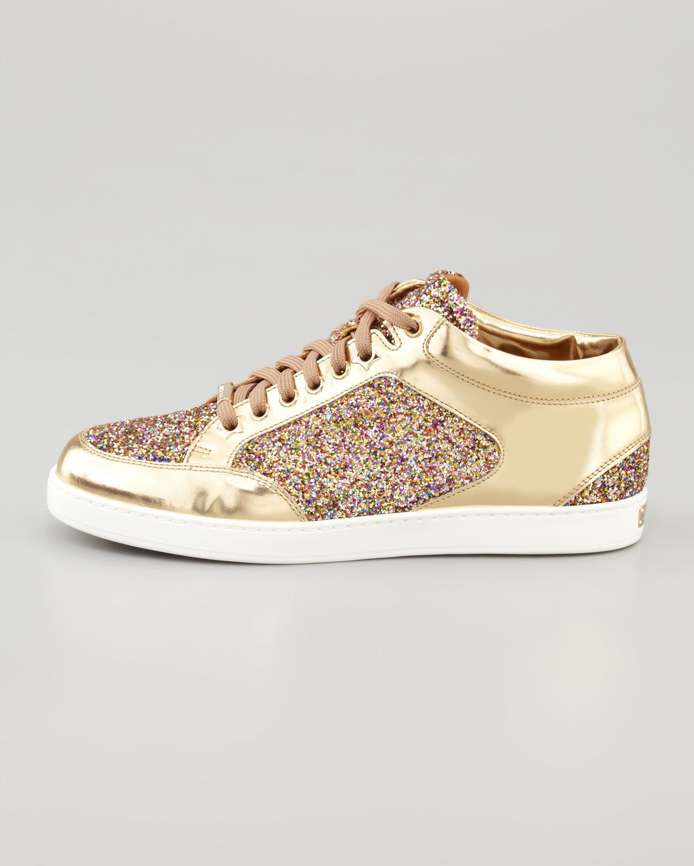 66c63e7abda6 ... where can i buy lyst jimmy choo miami lowtop glitter sneaker gold in  metallic e389e 77ba7