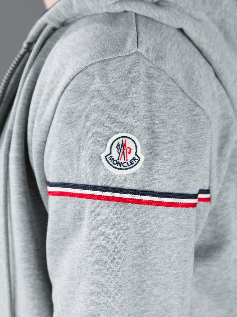 3b6ff252dfda Moncler Logo Hoodie in Gray for Men - Lyst