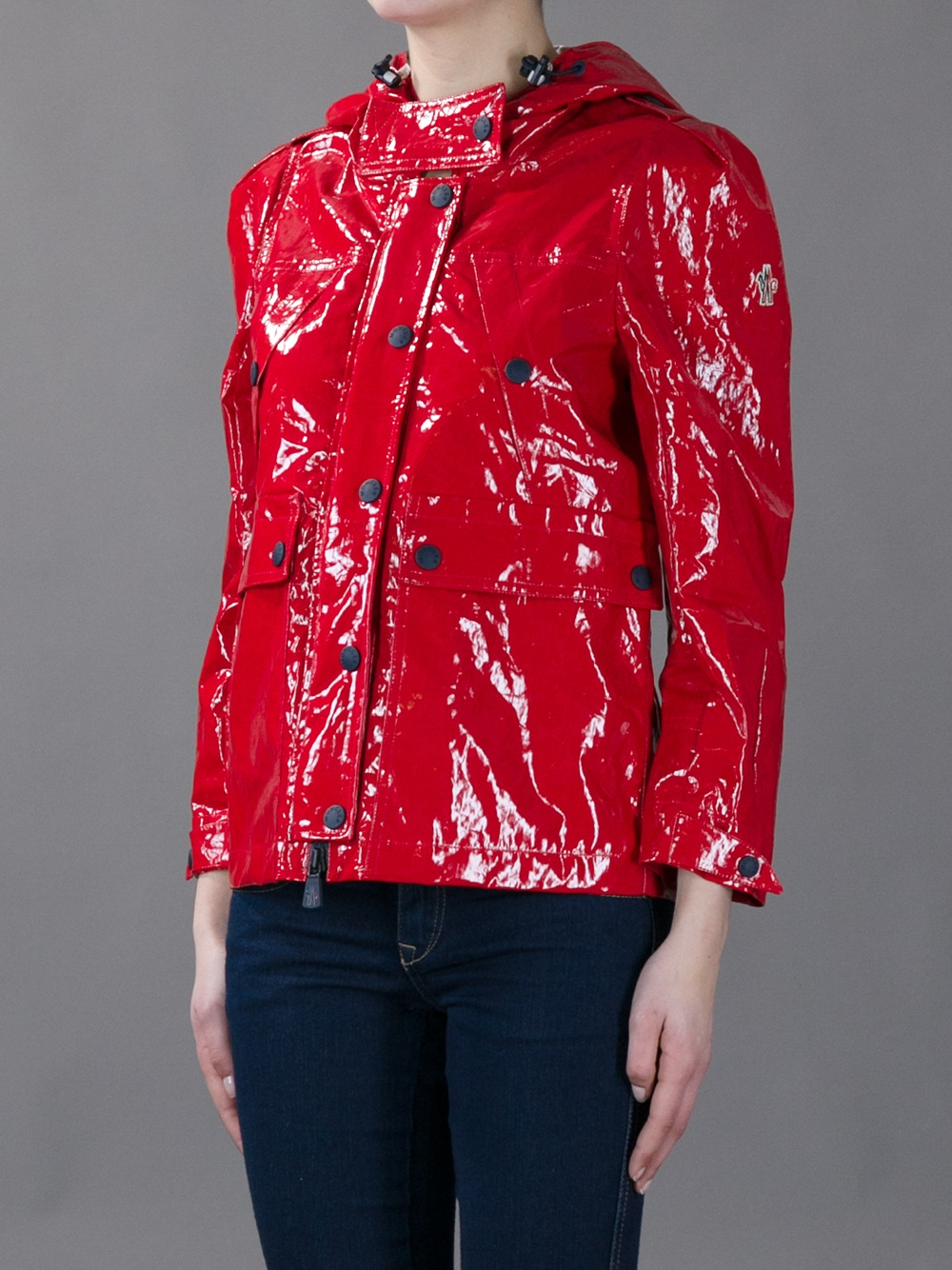 red moncler raincoat