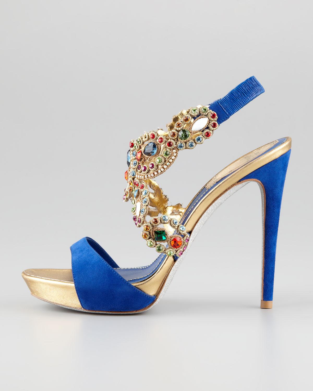beaba65586b Lyst - Rene Caovilla Jeweled Anklewrap Platform Sandal in Blue