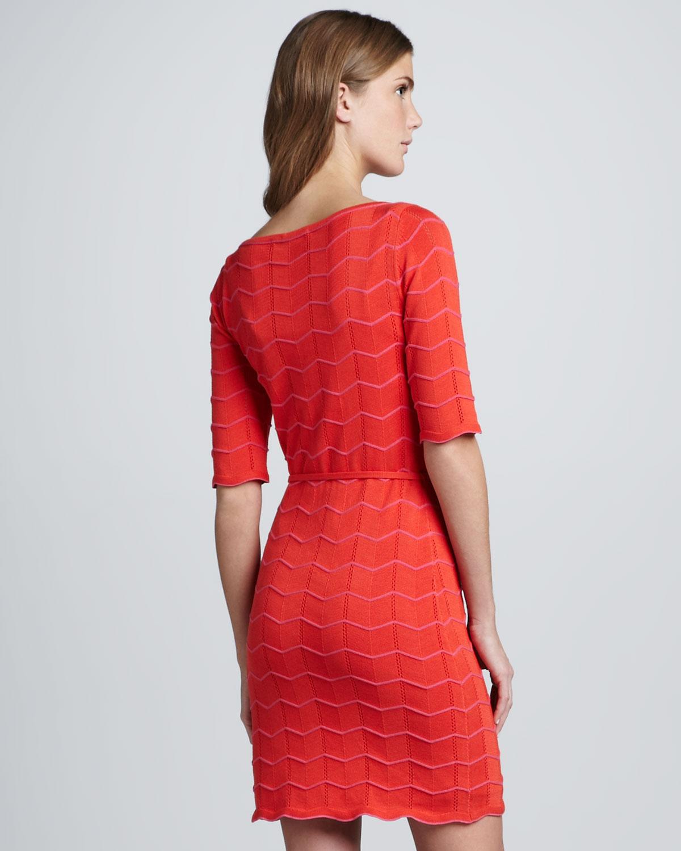 Lyst Trina Turk Serena Scalloped Knit Dress In Red