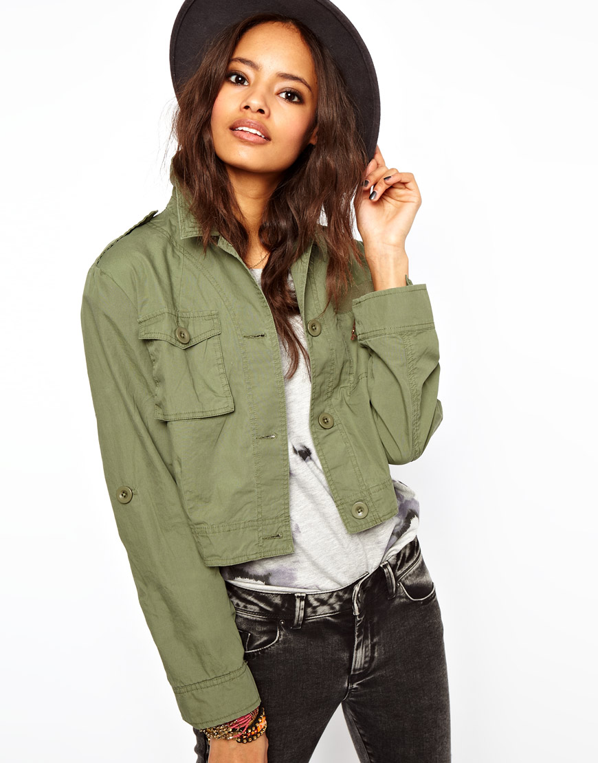 3548df48f8ca0a Lyst - ASOS Collection Cropped Utility Jacket in Green