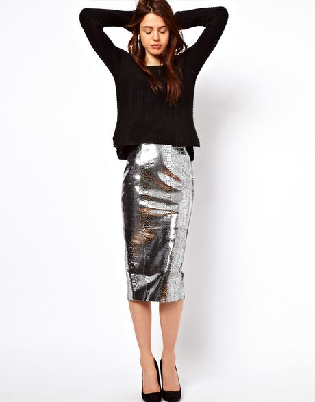 asos collection asos pencil skirt in snake effect leather
