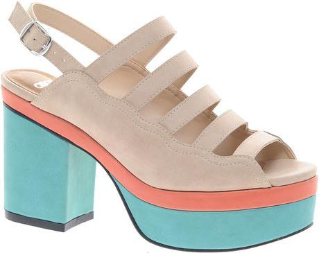 asos history platform heeled sandals in pink lyst