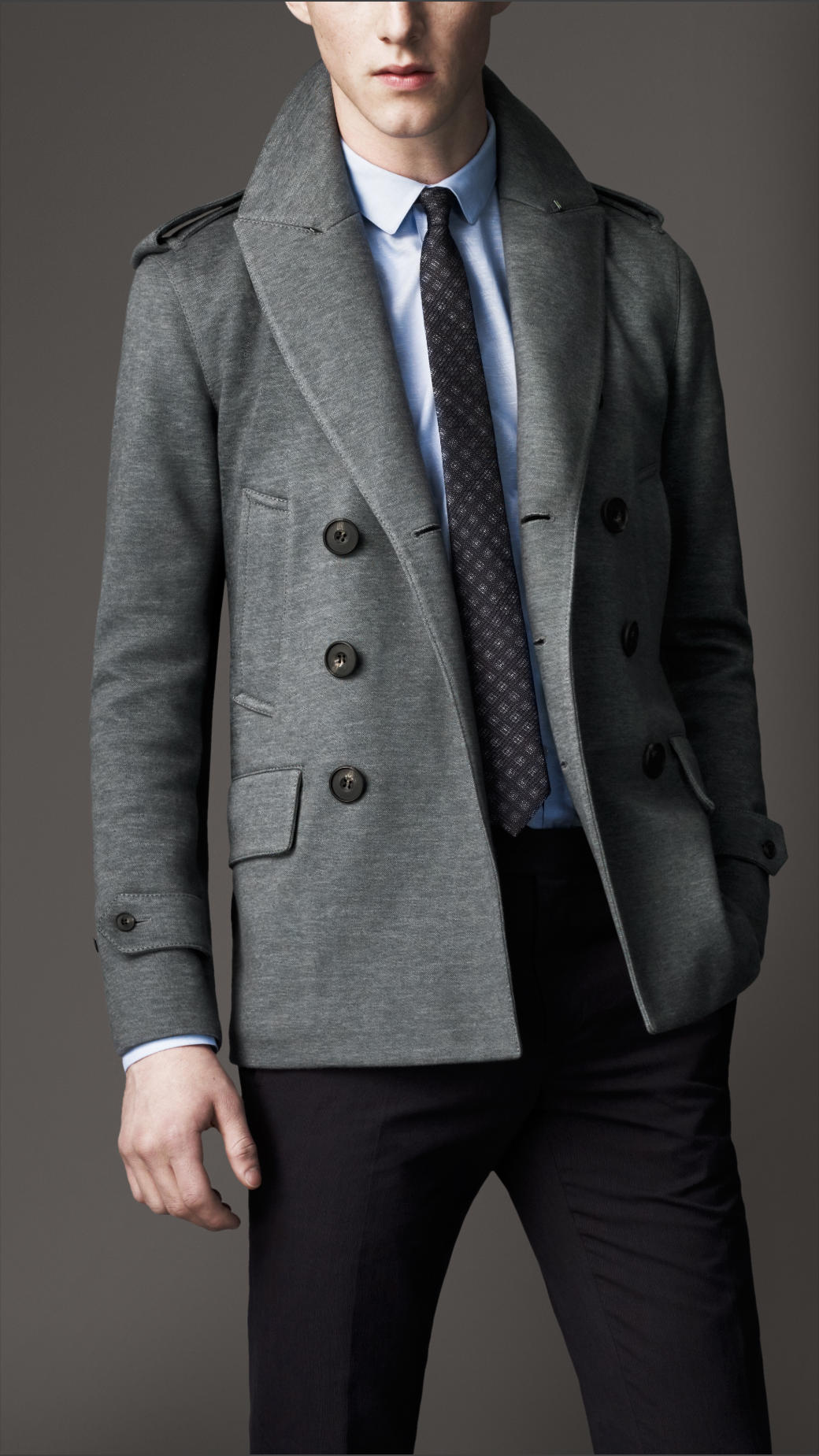 Lyst Burberry Double Cotton Jersey Pea Coat In Gray For Men