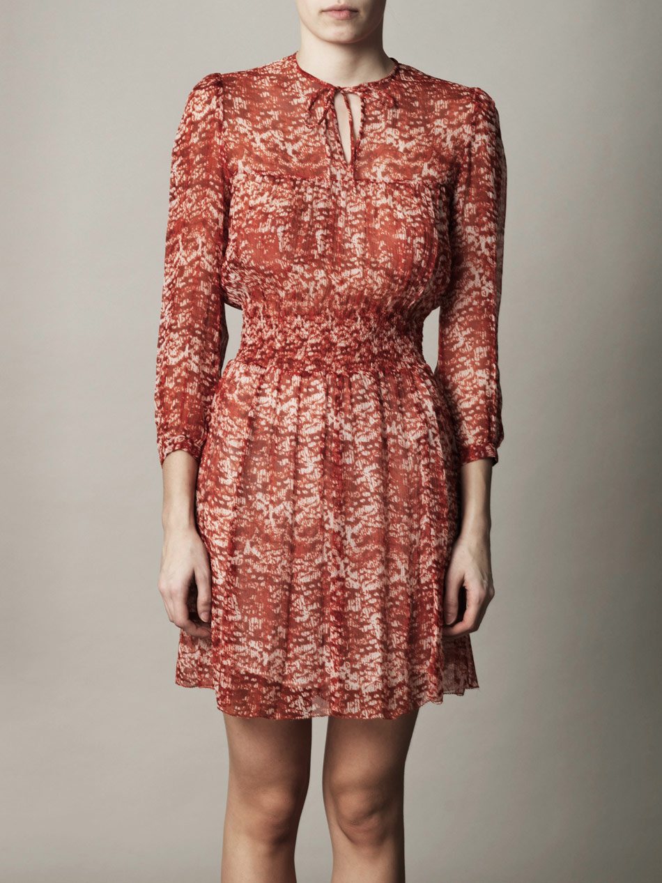 Toile isabel marant salome printed cotton voile shorts in for Isabel marant shirt dress