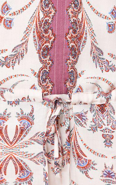 Zara Paisley Print Vneck Jumpsuit In Floral Light Pink