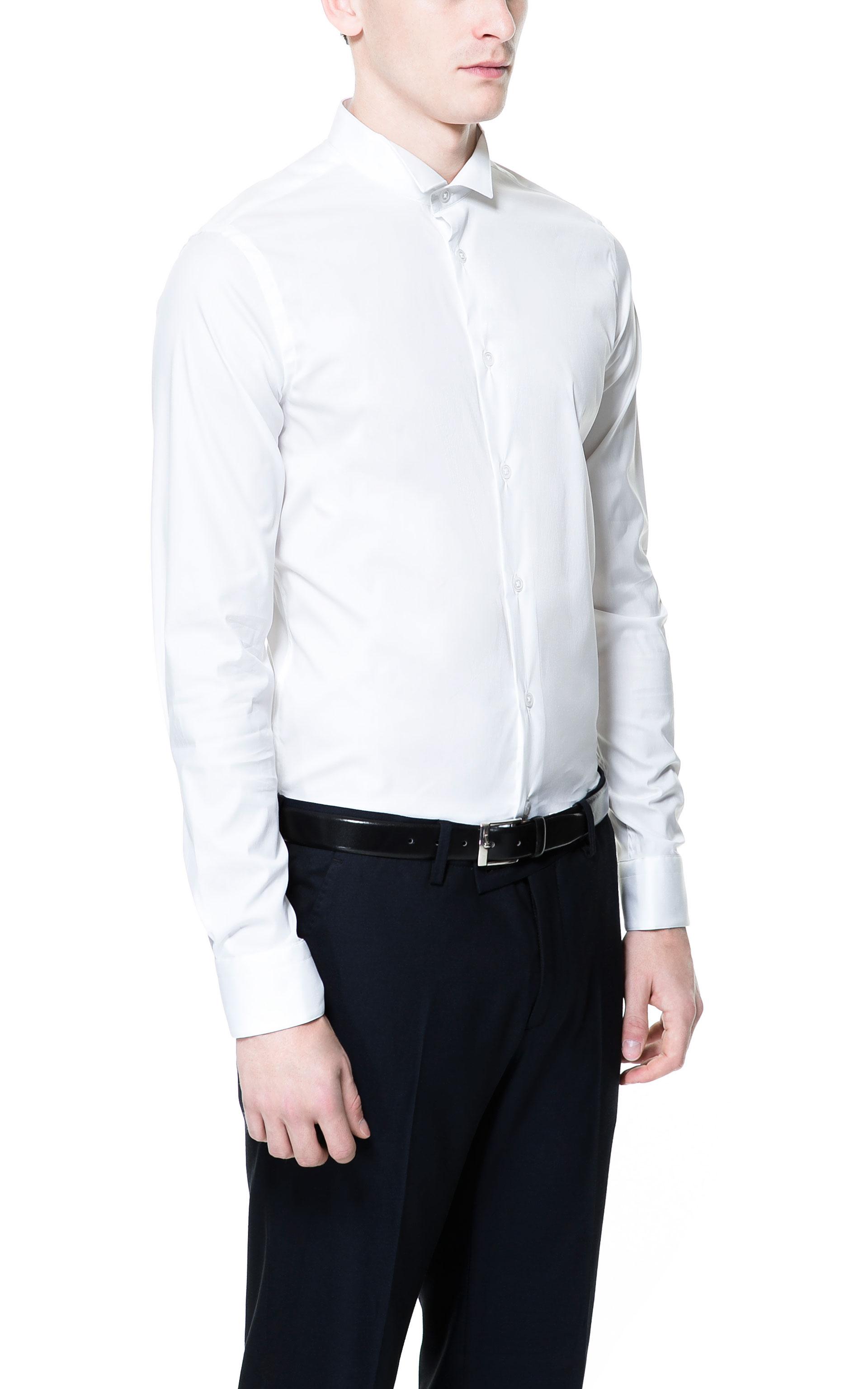 Zara Shirt with Tuxedo Collar in White for Men | Lyst