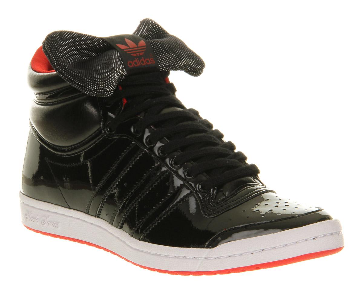 ... best sneakers a4ffb 08d85 Lyst - Adidas Top Ten Hi Sleek Black Red Bow  in Black ... d6207a6fca