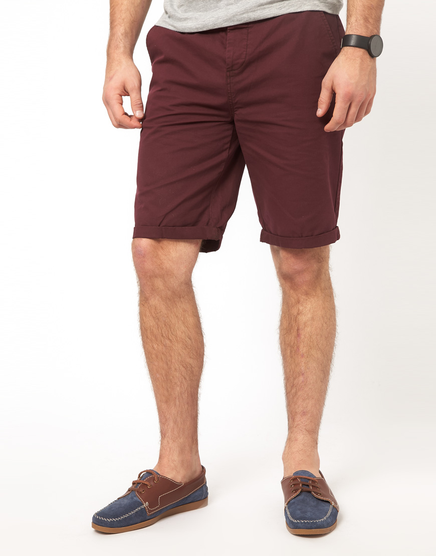 Asos Chino Shorts In Longer Length In Red For Men