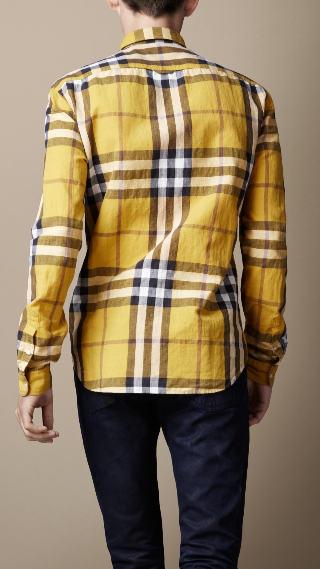 Lyst - Burberry Brit Check Cotton Linen Shirt in Yellow for Men d1ce642fff