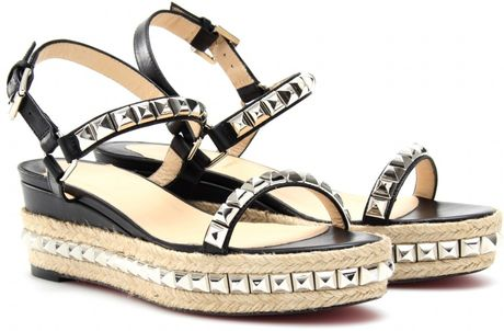 Christian Louboutin Cataclou 60 Studded Espadrille Sandals in Silver