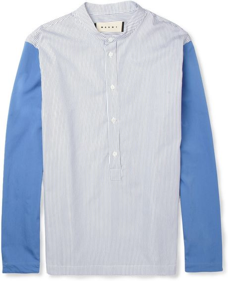 Marni Grandadcollar Contrastsleeve Cotton Shirt in White for Men (blue)