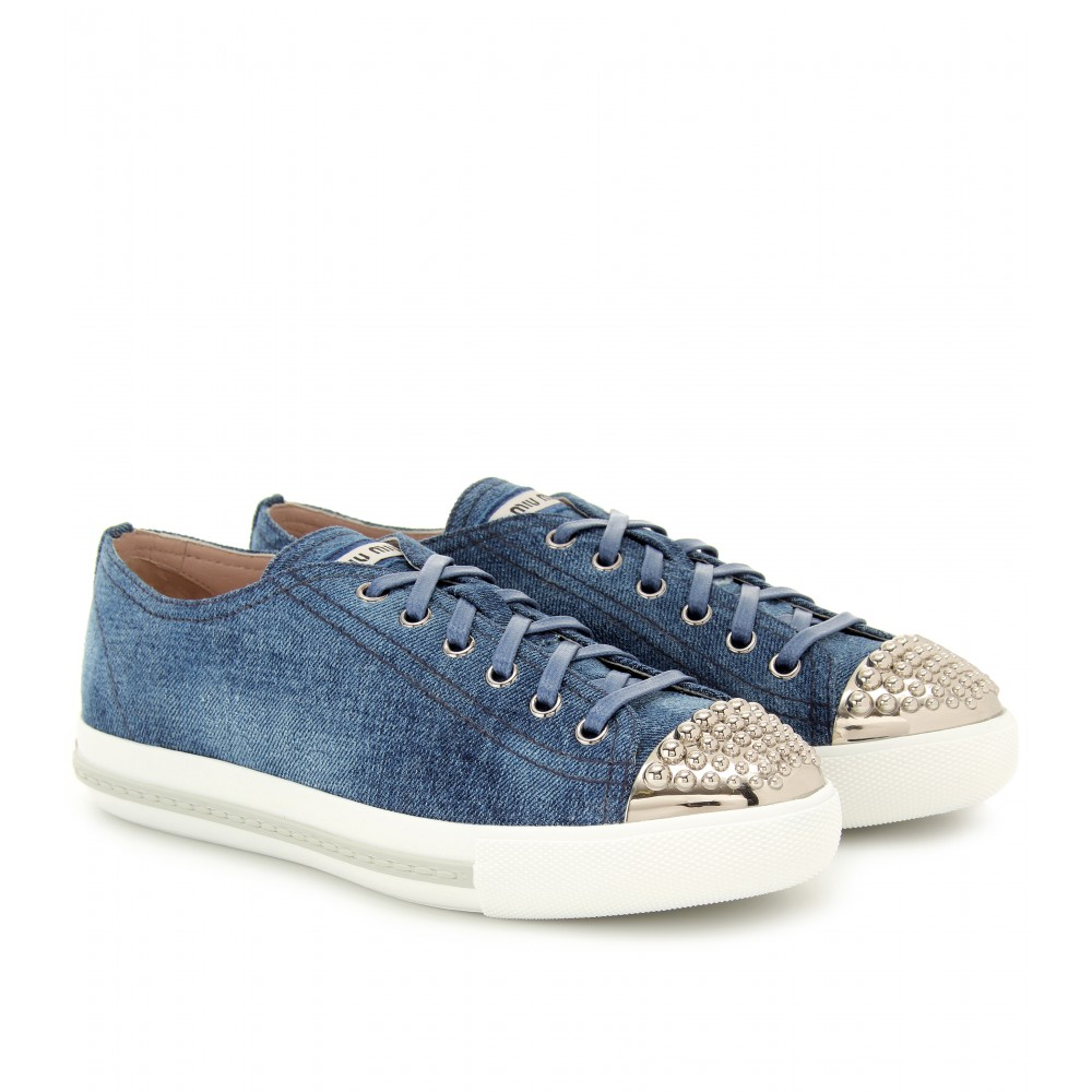 Denim Blue Lyst In Miu Sneakers jqMSLzGVUp